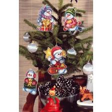 Set van 4 verschillende sneeuwpoppen voor kerstboom