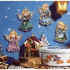 Set van 4 verschillende kerstengelen