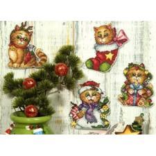 Set van 4 plastic canvas kerstpoesjes