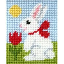 Wit konijn met rode strik