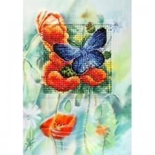 Papavers en vlinder