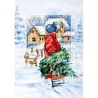 Jongetje met kerstboom