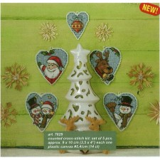 Set van 5 verschillende kersthartjes voor kerstboom