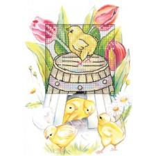 Borduurkaart paaskuikens en tulpen