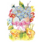 Borduurkaart paaskuikens en bloemen