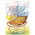 Borduurkaart Geboorte jongetje (blauw)