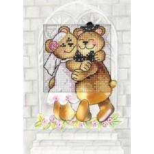 Borduurkaart Bruiloftsbeertjes