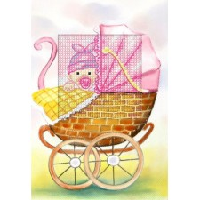 Borduurkaart Geboorte meisje (roze)