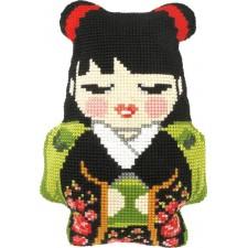 Borduurkussen Japans meisje - Japanse Girl