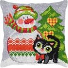 Borduurkussen Kerst: Sneeuwpop en poes