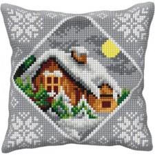 Borduurkussen Huis in de sneeuw