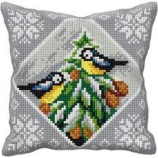 Borduurkussen Vogels in de sneeuw