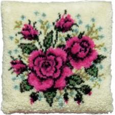 Knoopkussen roze rozen
