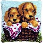Knoopkussen 2 hondjes in mand