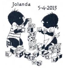 Jip en Janneke geboortetegel Jolanda: blokken