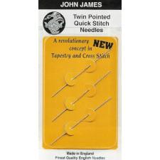 John James Dubbelpunt borduurnaalden met stompe punt, 3 stuks