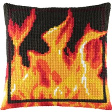 Cross Stitch cushion fire