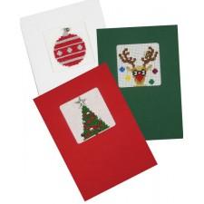 Set van 3 gekleurde kerstkaarten