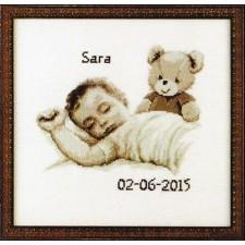 Geboortetegel Sara: Baby met beertje sepia