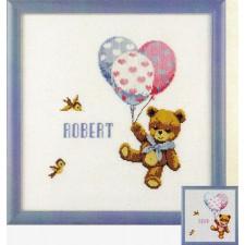 Geboortetegel Robert: Beertje met ballonnen
