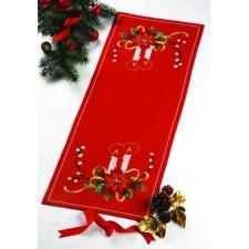 Kerstloper rood met kaarsen