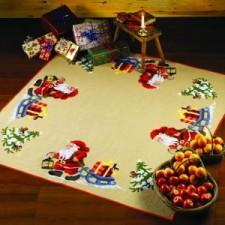 Kleed met kerstman lantaarn en slee XL - Santa Claus - Weihnachtsmann