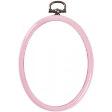 Plastic frame oval 7x9cm pink