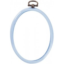 Plastic frame oval 7x9cm light blue