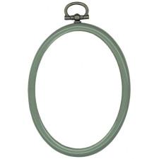 Plastic frame oval 7x9cm olive green/blue