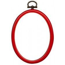Plastic frame oval 7x9cm red