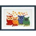4 Gekleurde uilen - Owls in different colors