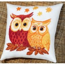 Kussen uilen rood/geel - Owls red/yellow - Euls rot/gelb