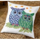 Kussen uilen blauw/groen - Owls blue/green - Euls blau/grün