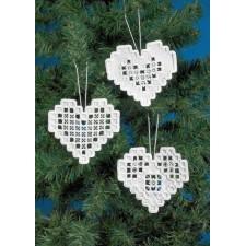 Hardanger kersthartjes wit - Hardanger hearts 3pck
