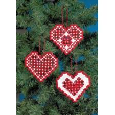 Hardanger kersthartjes rood - Hardanger hearts 3pck