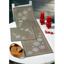 Kerstlopertje sneeuwvlokken - Snowflakes on linnen