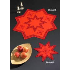Kerstkleedje hardanger rode ster - Hardanger w/red star