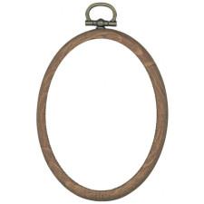 Plastic frame oval 7x9cm wood