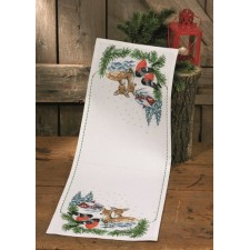Reindeer and bullfinches in snow