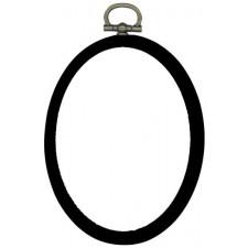 Plastic frame oval 7x9cm black