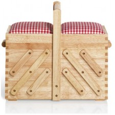 Naaibox hout blank M, stoffen top