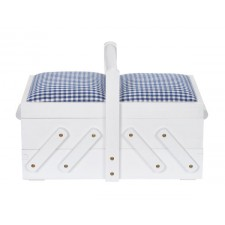 Sewing box wood S white with fabric