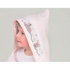 Badcape roze/witte stippen