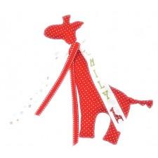 Knuffel giraf rood met stippen