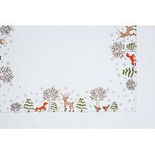 Kersttafelkleedje Winterwoud met dieren