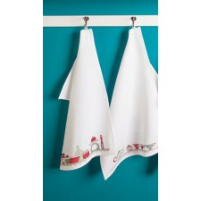Teatowel white waves