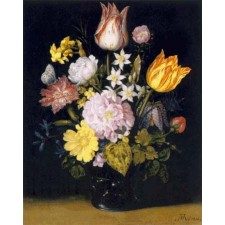 Flowers in a Glass Vase (without fly) - Ambrosius Bosschaert
