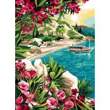 Boot bij bloemrijk strand - Pause turquoise