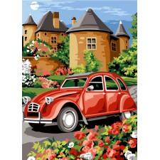 2CV bij kasteel - Visite au chateau rouge