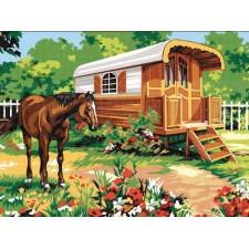 Paard bij woonwagen